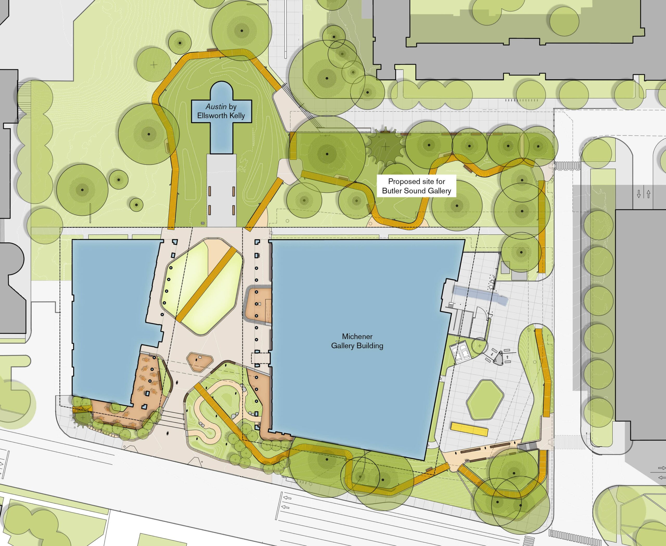 Plan with proposed site for Butler Sound Gallery